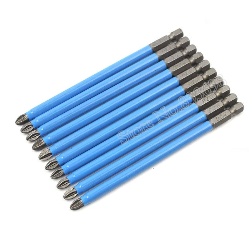 10Pcs Magnetische Pozidriv PZ2 Schraubendreher Bit Set 1/4 Hex Schaft Anti Slip Elektrische Schraubendreher Power Werkzeuge 50mm 127mm 150mm