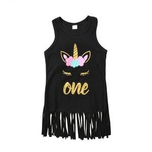 Платья для маленьких девочек без рукавов, детское платье с цветочным рисунком единорога и бахромой для девочек, платье принцессы, 2018, нового...