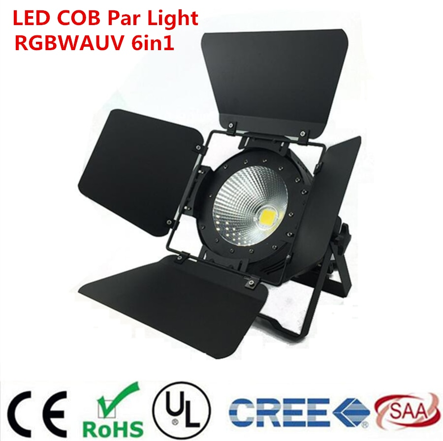 300w cob led par light with barn doors aluminium led strobe light effect stage lighting warm white rgbwa uv 6in1 200w cob par dj LED Par COB 200W RGBWA UV 6in1  Lyre Stage Lighting Effect professional stage For Clubs Luces Discoteca Disco With Barn Doors
