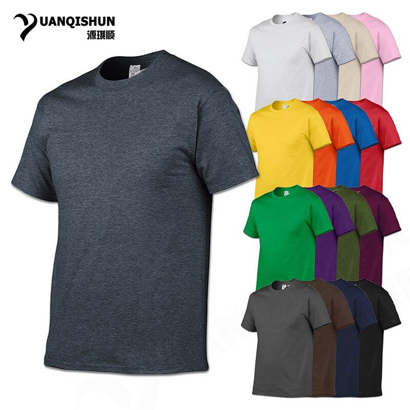 YUANQISHUN marca de moda de Color sólido camiseta de alta calidad de algodón para hombres camiseta 17 colores Unisex Casual tops de manga corta Camisetas