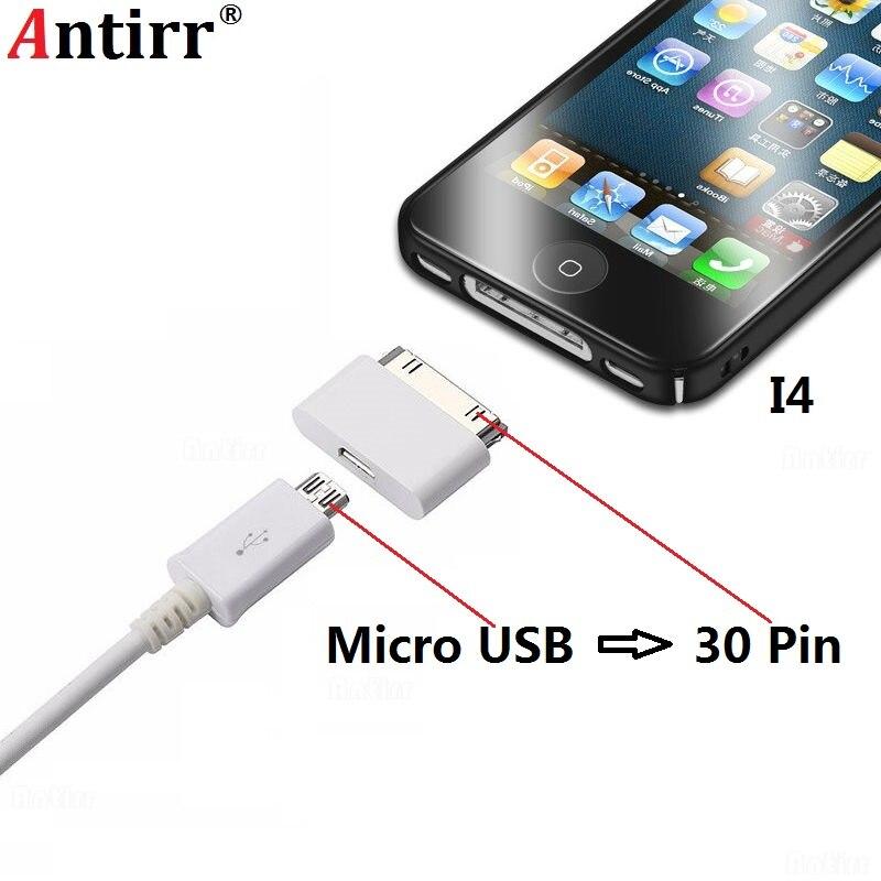 Adaptador de cargador Micro USB a 30 pines para Apple iPhone 4 4S ipad 1 2 ipod Microusb 5 pines a 30 pines conector adaptador