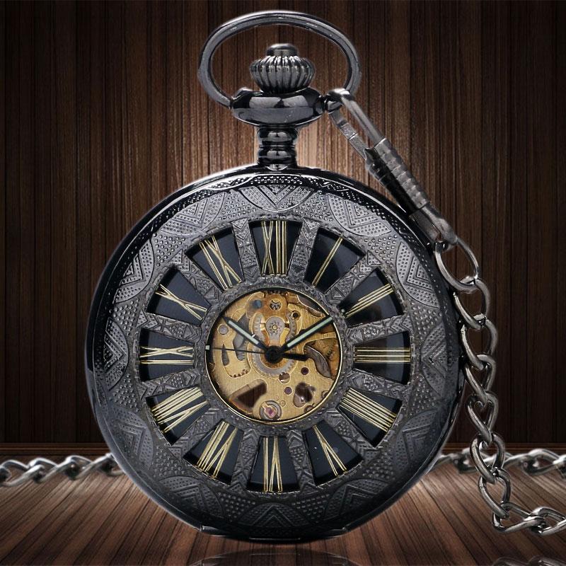 سحر أنيق الهيكل العظمي السيارات الميكانيكية الرجال ووتش شفافة ريترو steampunk خمر الرومانية مقياس الجيب فوب ساعة