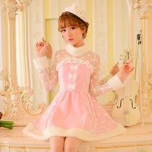 Princesse douce lolita robe rose bonbons pluie nœud dentelle décoration a-ligne col rond clou perle design japonais C16CD6126