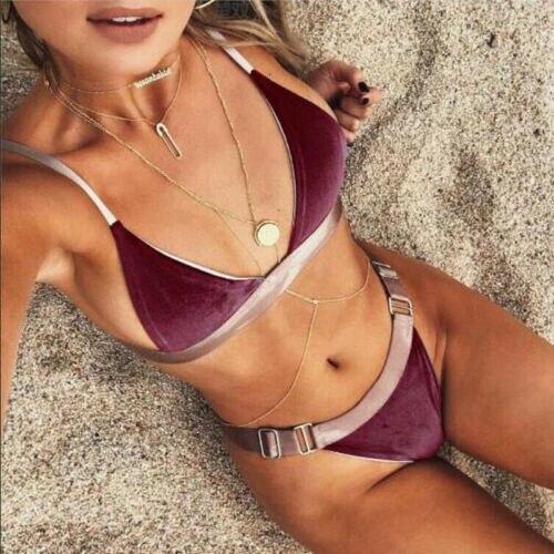 Conjunto de Bikini de moda para mujer, conjunto de Bikini acolchado de realce, traje de baño de terciopelo para playa del 2019, ropa de playa