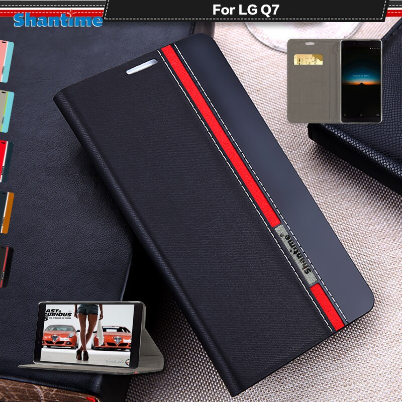Funda de teléfono de cuero de poliuretano para LG Q7 caso para LG Q7 de negocios caja TPU silicona cubierta