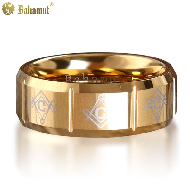 Anillo de oro del padrino, anillo de tungsteno Bahamut, masonería, joyería de alta calidad para hombres, anillo de nombre personalizado