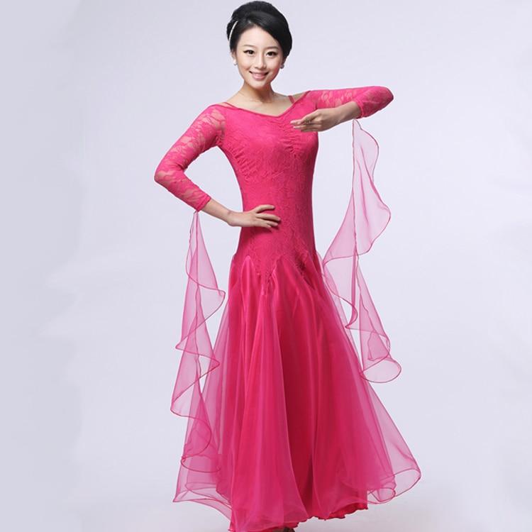 Vestido de una pieza de danza moderna falda de expansión Isointernational para practicar el otoño para mujeres adultas bailando vals Galop Fox Trot