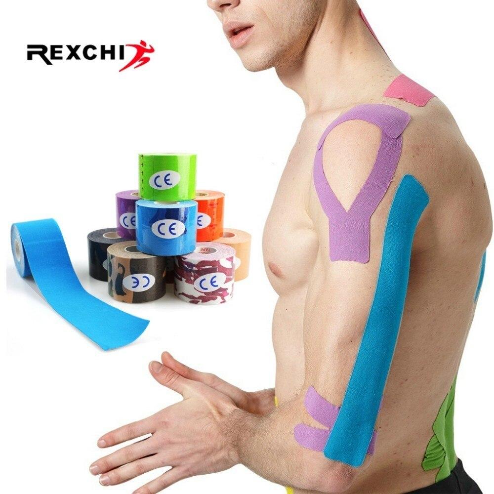 REXCHI 2 размера эластичная кинезиологическая лента Атлетическая восстановительная Спортивная безопасная мышечная обезболивающая наколенники Поддержка гимнастического фитнеса