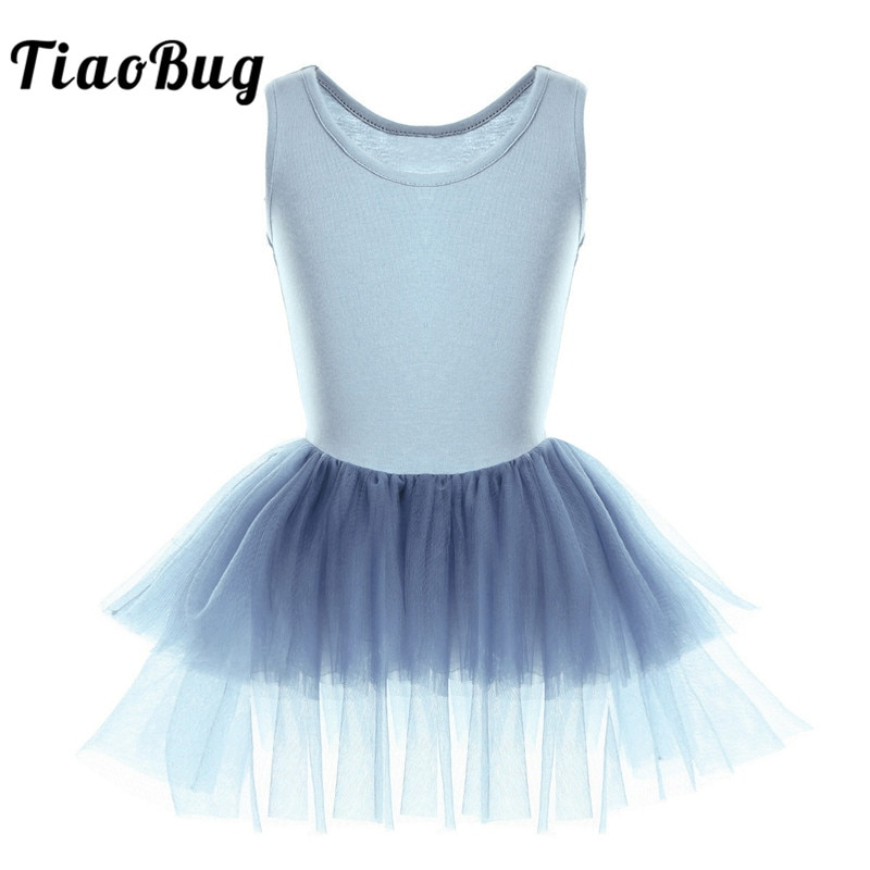 TiaoBug Kids Cotton Tiered Mesh Ballet Tutu Dress Ballerina Dance Costume Girls Gymnastics Leotard Princess Dance Leotard Dress