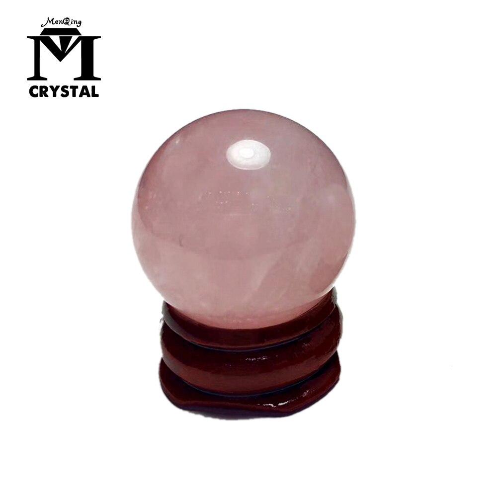2019 с деревянной подставкой, около 25 мм ледяных видов, натуральный розовый кристалл, розовая кварцевая Сфера, хрустальный шар, исцеление, бесплатная доставка