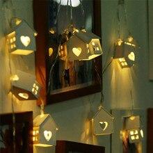 1.2/1.5/2.2/3M الإبداعية خشبية منزل الجوف led ضوء سلسلة بطارية تعمل بالطاقة مصباح ديكور للحزب حديقة غرفة نوم ساحة دا