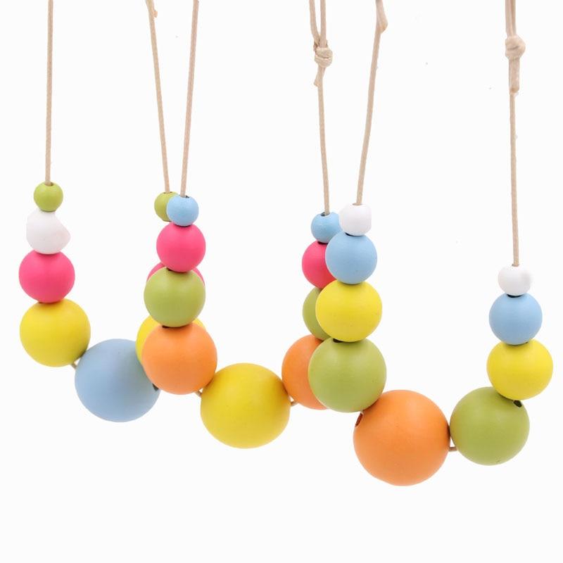 1 шт., яркие цвета, радужные деревянные бусины, массивное ожерелье, ручная роспись, чокер, деревянный регулируемый шнур, ювелирное изделие