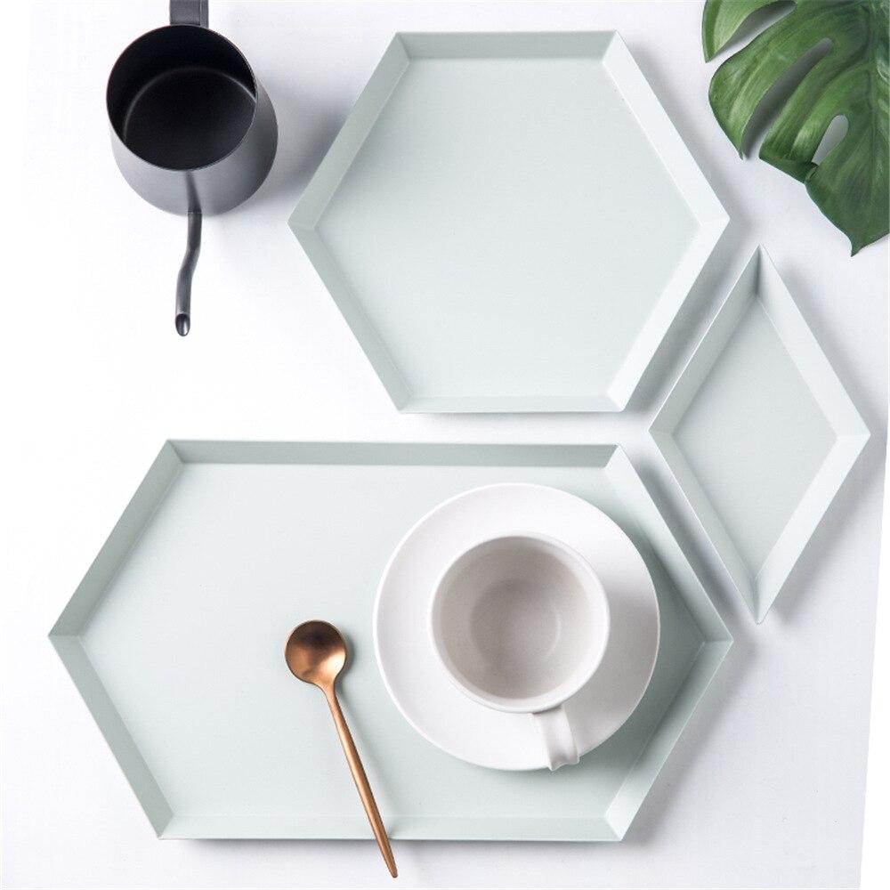 Geometria nórdico mesa de escritório placa de armazenamento chique escandinavo colorido metal mesa frutas jewery bandeja de armazenamento cupcake organizador