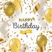 Laeacco Balão Feliz Aniversário Para Você Festa Lantejoulas Fita Cartaz Bebê Fotografia Fundo Photo Studio Backdrops Fotografia