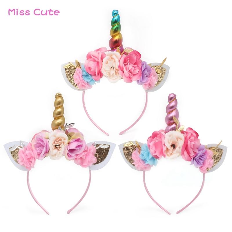 10 unids/lote bebé unicornio diadema para fiestas Arco Iris unicornio cuerno Diadema con flores de orejas de gato de bono accesorios para el cabello