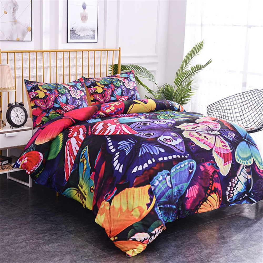 ZEIMON-ensemble de literie multicolore motif papillons   Housse de couette souple, de luxe 2-3 pièces, avec Textiles de maison taille de reine