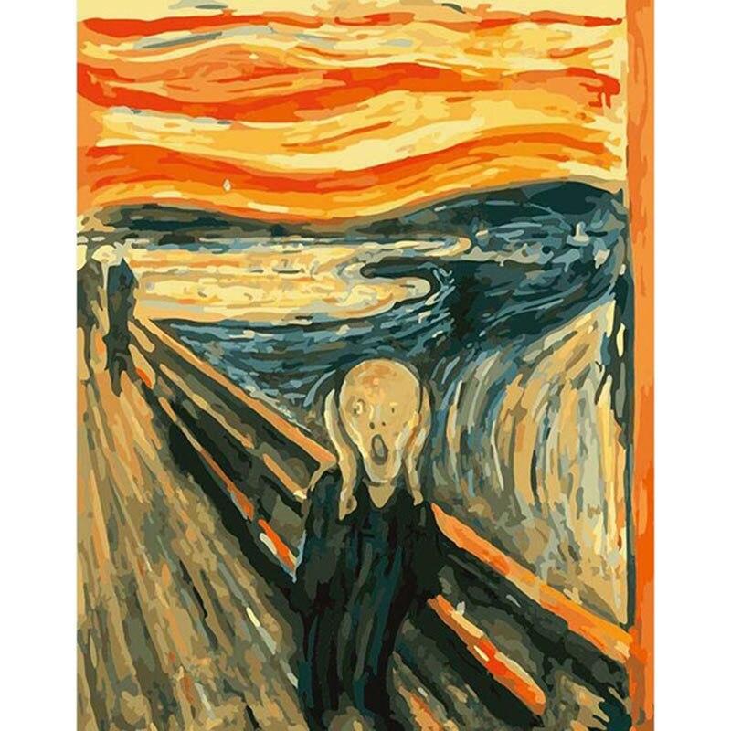 Pintura hecha a mano The Scream Edvard Munch, lienzo de alta calidad, hermosa pintura por números, regalo sorpresa, gran logro