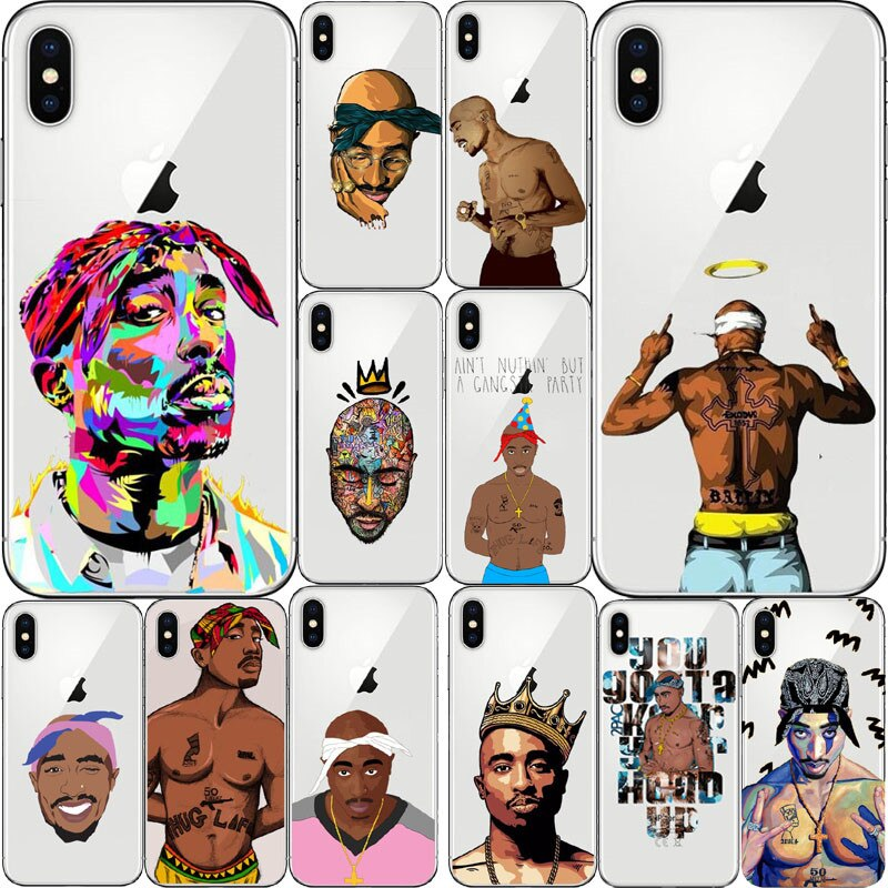 2Pac Tupac Amaru Shakur Makaveli TPU transparente suave caso Capa Do Telefone Para el iphone 4 5 6 7 8 Plus X XR XMax Coque Capa