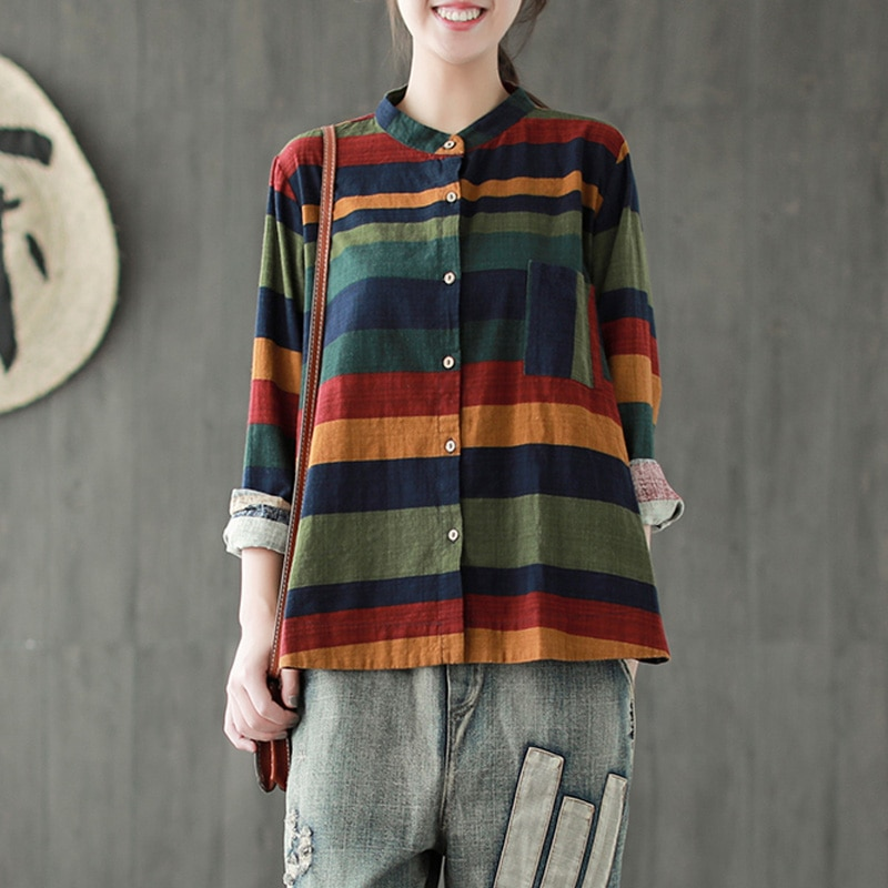 Johnature, camisas a rayas para mujer, blusas informales de lino y algodón, nuevas blusas de otoño 2020, blusas de manga larga con botones para mujer
