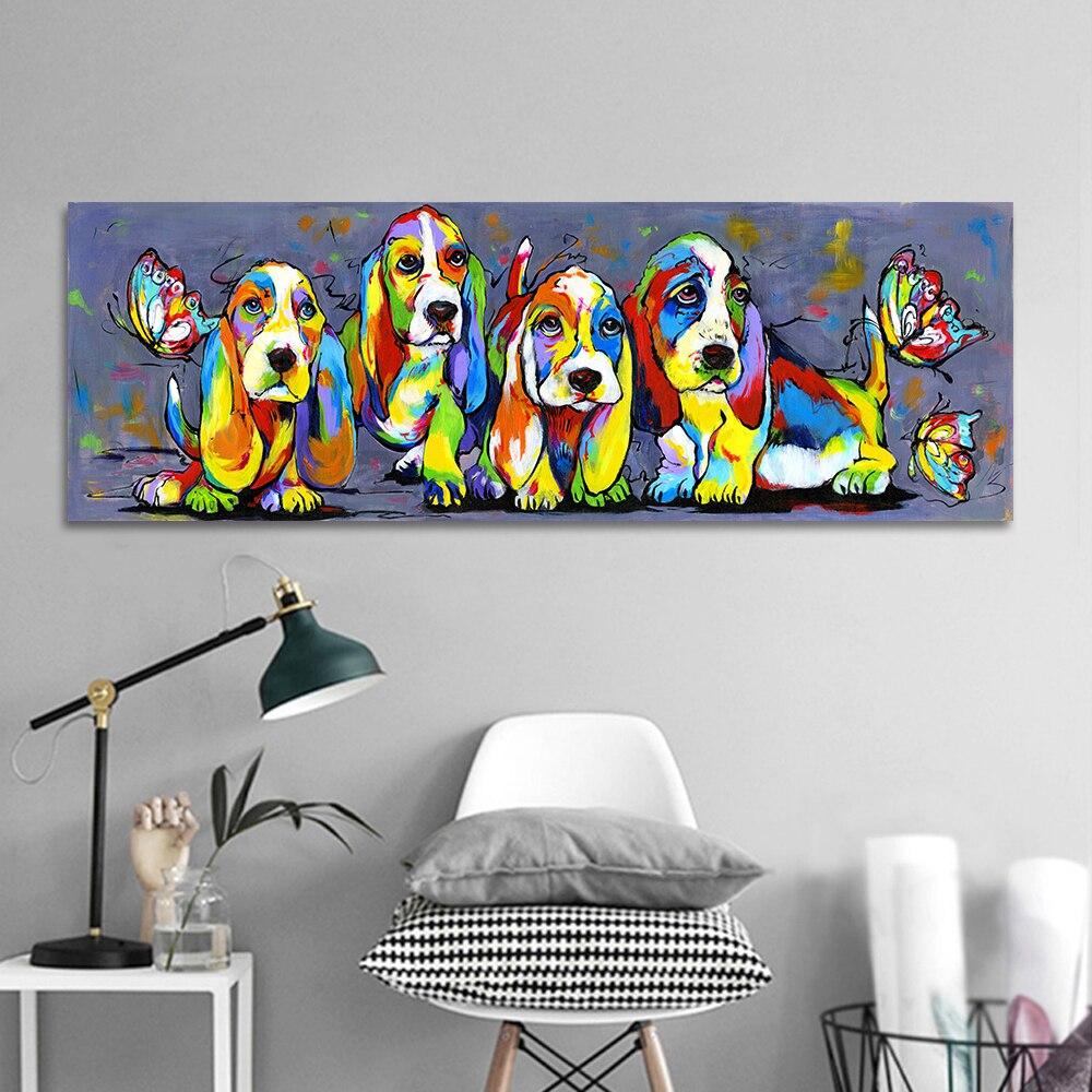 Hdartisan arte da parede imagem da lona cópias pintura animal quatro cães coloridos filhote de cachorro para sala estar decoração casa sem moldura