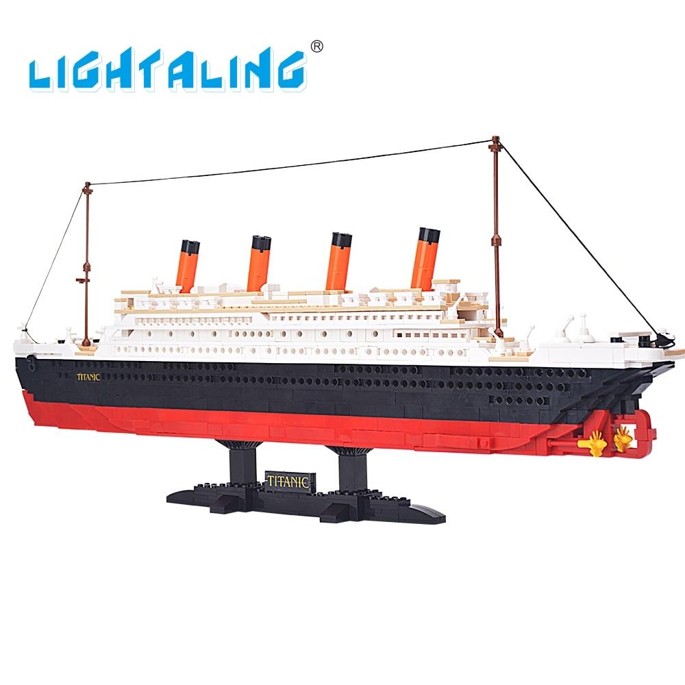 Строительные блоки LIGHTALING, 1021 шт., игрушка, круиз, RMS, Титаник, лодка, 3d модель, обучающая игрушка со светодиодной подсветкой, набор в оригиналь...