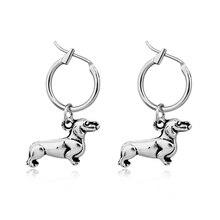 1 paire européenne nouveau stéréoscopique teckel petit cerceau boucles doreilles pendentifs créatifs mignon animaux couleur argent chien boucles doreilles E552-T2
