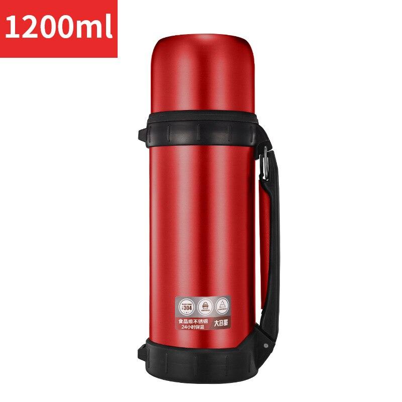 Termo de café de acero inoxidable, taza térmica de café para coche, taza de vacío aislada, botella térmica de agua del té de viaje, termo de 1200 ML