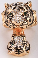 Mère & cub tigre anneau extensible pour les femmes antique or argent couleur W cristal bijoux en gros livraison directe E
