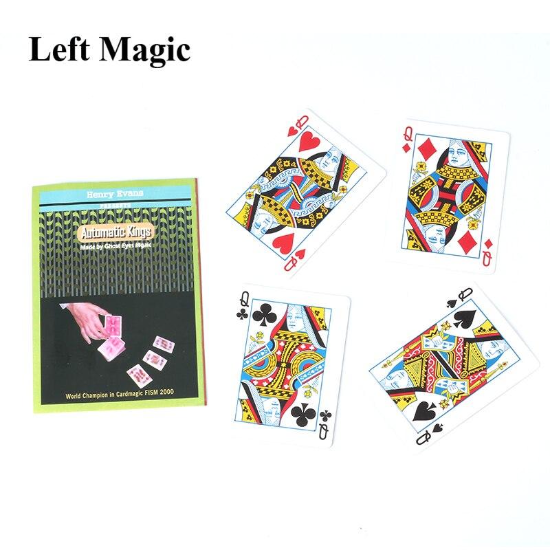 Tarjeta para trucos de magia automática Kings By Henry Evans, accesorios de magia, cuatro reyes giran desde la cubierta, primer plano, truco de magia callejero