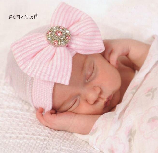 E & Bainel sombrero de ganchillo para bebé de primavera, lazo para recién nacido, boina de punto de algodón para niñas, sombrero de bebé a rayas, sombrero para niños pequeños