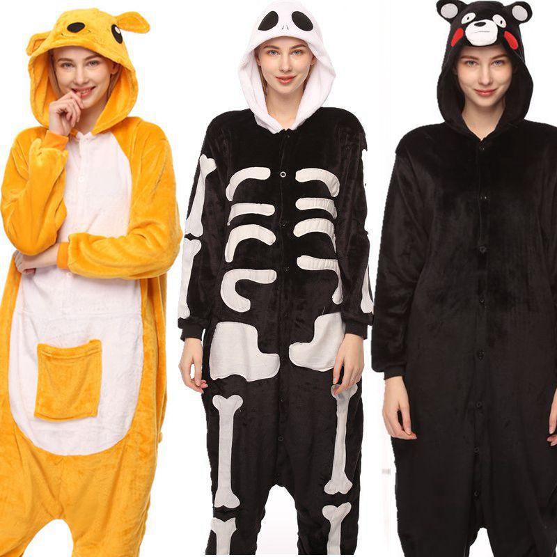 Pijamas de unicornio de animales para adultos, juego de dibujos animados de dinosaurio kigumi, pijamas de Panda de franela Unisex de Invierno para mujer y hombre, ropa de dormir unicornio
