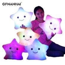 1pc 40cm coloré étoile forme jouets étoile LED lumineuse lumineux lumière oreiller doux Relax cadeau sourire corps oreiller enfants saint valentin cadeau