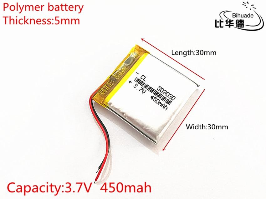 Batería de polímero de energía de 450 mah, 3,7 V, 503030, batería de ion de litio inteligente para hogar, batería para dvr, GPS, mp3 y mp4