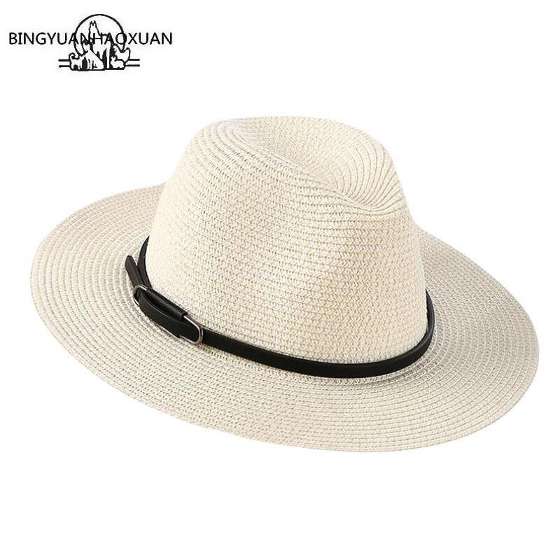 BINGYUANHAOXUAN מותג 2018 גבירותיי שמש כובע אופנה מזדמן נשים קש קיץ חוף כובע סיטונאי כובעי אופנתי כובע