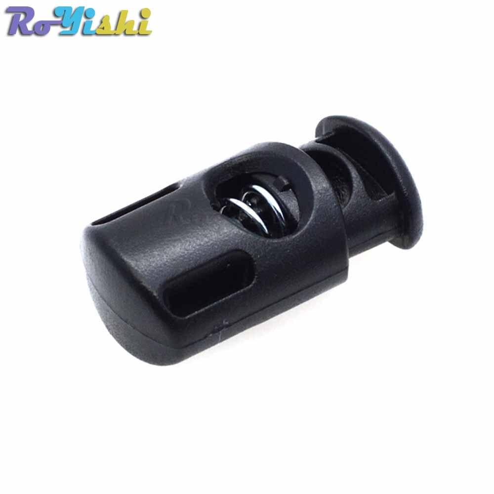 10 unidades/pacote plástico tambor primavera cabo fechaduras rolhas toggles preto 27mm * 14mm * 10mm