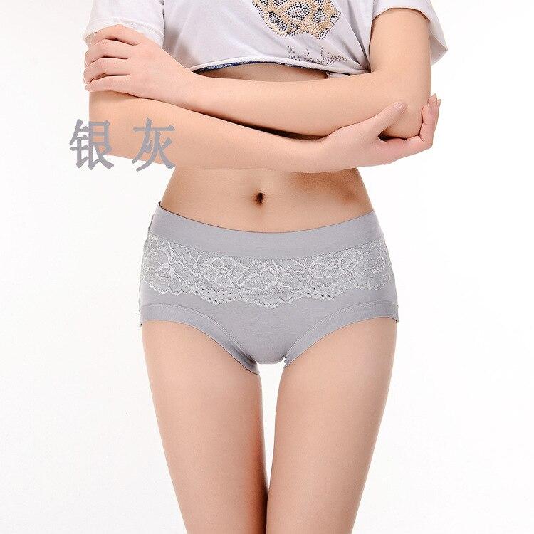 Kj146 meados da cintura de fibra de bambu das mulheres roupa interior feminino rendas tamanho grande não-traço calcinha majtki damskie bambusowe