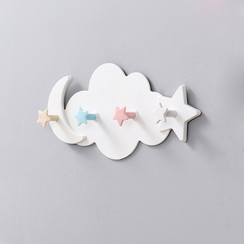 Творчески сладък във формата на облак, луна и слънце куки за дрехи без нокти за детска стая, декоративна закачалка за ключове, кука за съхранение в кухнята