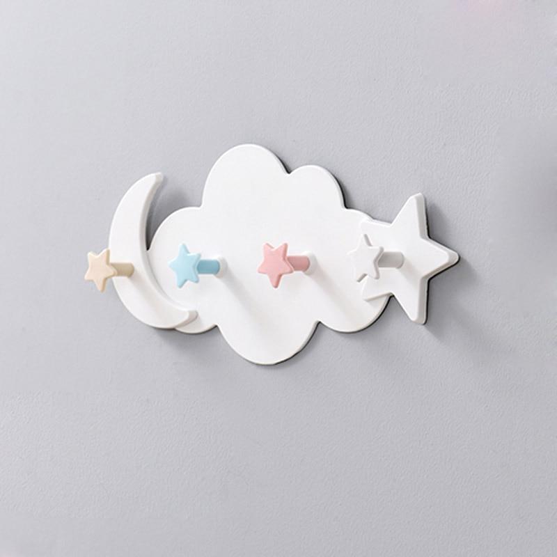 Creative Cute Star Moon Cloud Shape Nail-free Wall Clothes Hooks Kids Room Decorative Key Hanging Hanger Kitchen Storage Hook