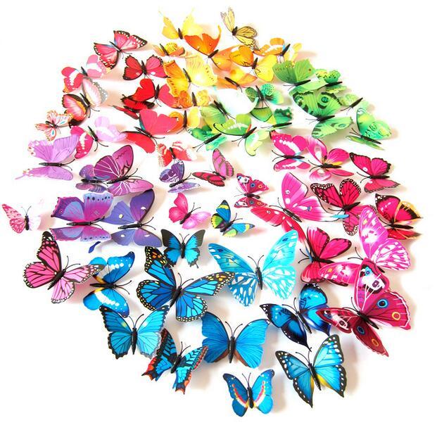 12 Uds. Pegatina de mariposa de pluma de doble capa 3D con ganchos para ventana/puerta cortina ropa vestido decoración mariposas drop shipping A10