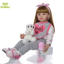 60cm Big Size Reborn Toddler Doll Toy Lifelike Vinyl Princess Baby With bearCloth Body Alive Bebe Girl Birthday Gift