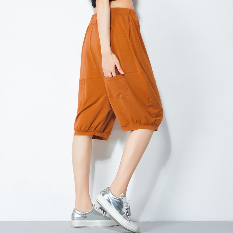 Half Length New Fashion Women Baggy Couples Casual Loose Harem Short Casual Soft Cotton Trousers Shorts Thailand Holiday Style