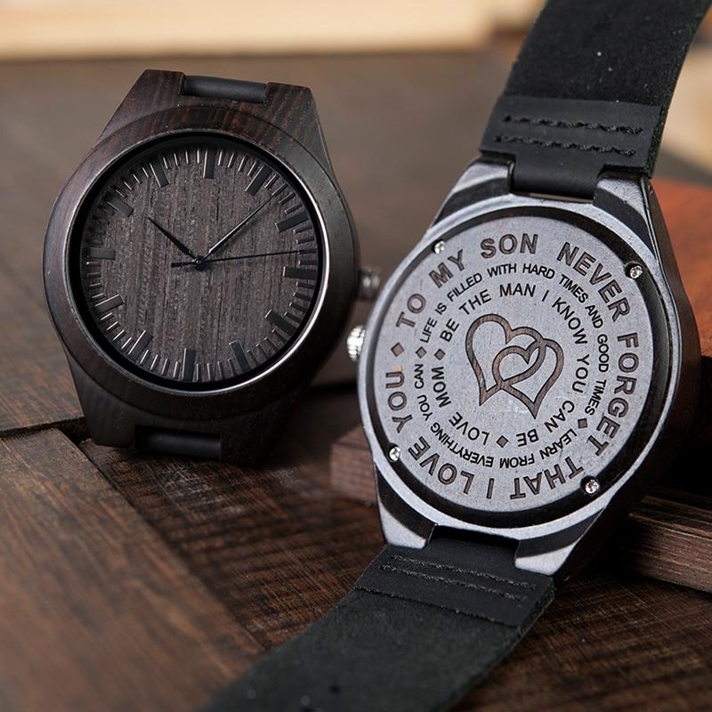 Relojes grabados de madera para regalo de hijo, regalo de amor familiar para hija, regalo de graduación, relojes 38 mm 44 mm