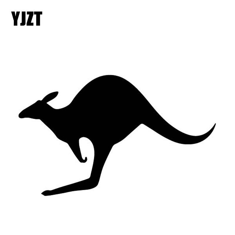 YJZT 15,5 CM * 9,6 CM patrón de canguro de dibujos animados pegatinas de vinilo calcomanía decoración de parachoques negro/plata C4-1252