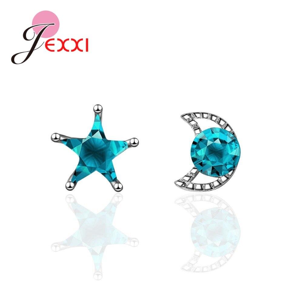 Unique Design New Trendy Star&Moon Austrian Crystal 925 Sterling Silver Stud Earrings Best Women Girl Birthday Gift