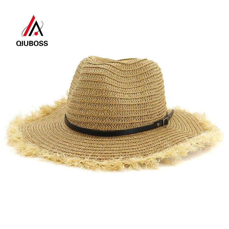 QIUBOSS sombrero de papel liso de paja de Jazz para hombres y mujeres, sombrero de Sol de Panamá de ala ancha, hebilla de cinturón de decoración, sombrero de vaquera Unisex, gorra de playa