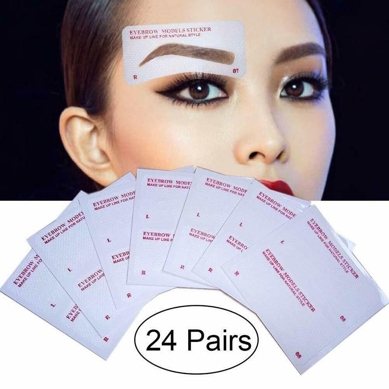 12 пар наклейки для бровей-трафарет карточка для рисования бровей Шаблон DIY инструменты для макияжа SK88