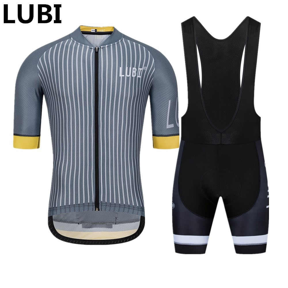 LUBI Men Summer Cycling Jersey Set Wear MTB Tights Clothes Kits Bike Clothing Sponge Pad Road Suit Ropa Ciclismo Hombre