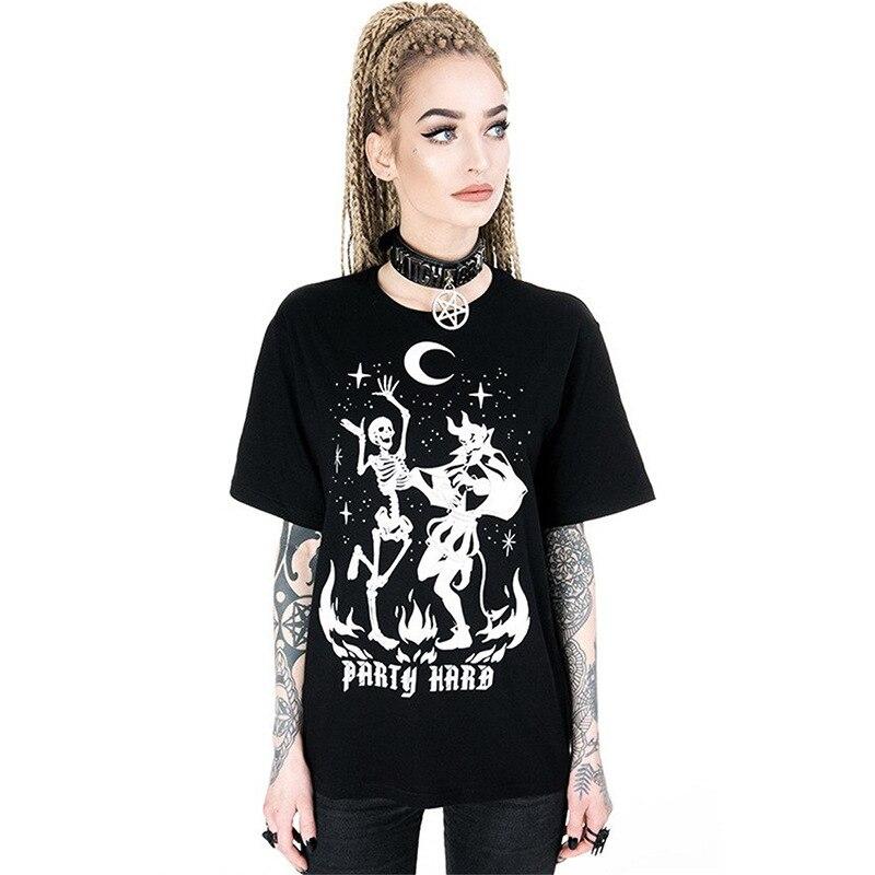 Mujeres verano gótico muerte calavera camiseta esqueleto diablo impreso Camiseta de manga corta ropa de verano Hip Hop Tops Punk Street camisetas