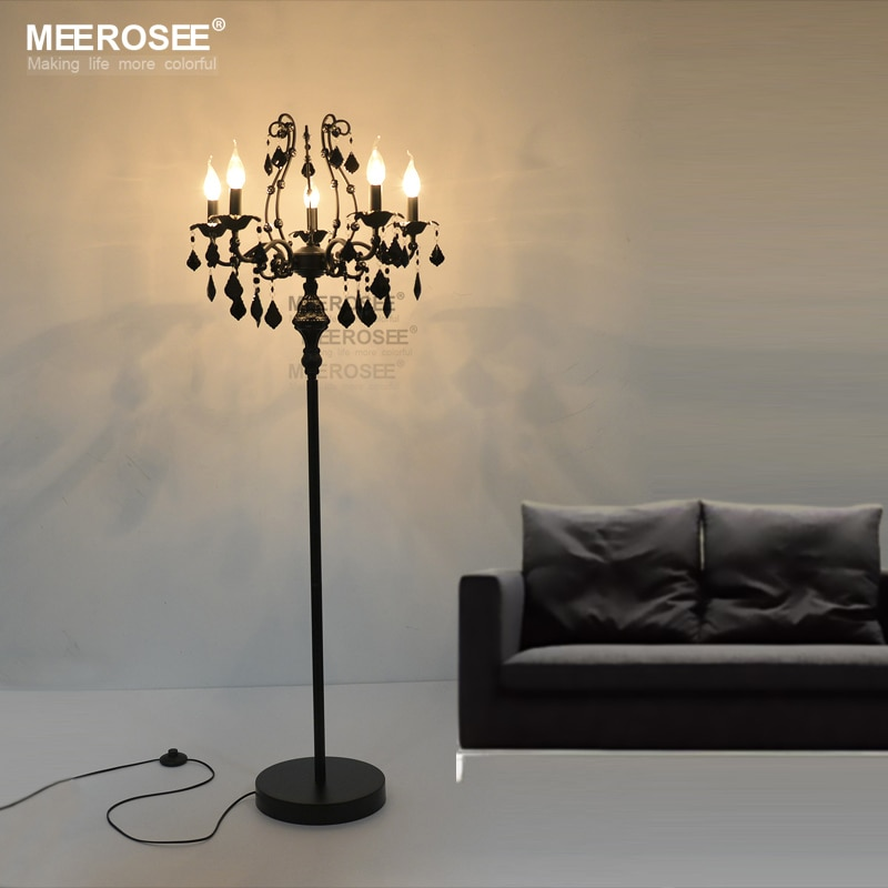 Vintage 5 luces de Cristal lámpara de pie para piso accesorio de...