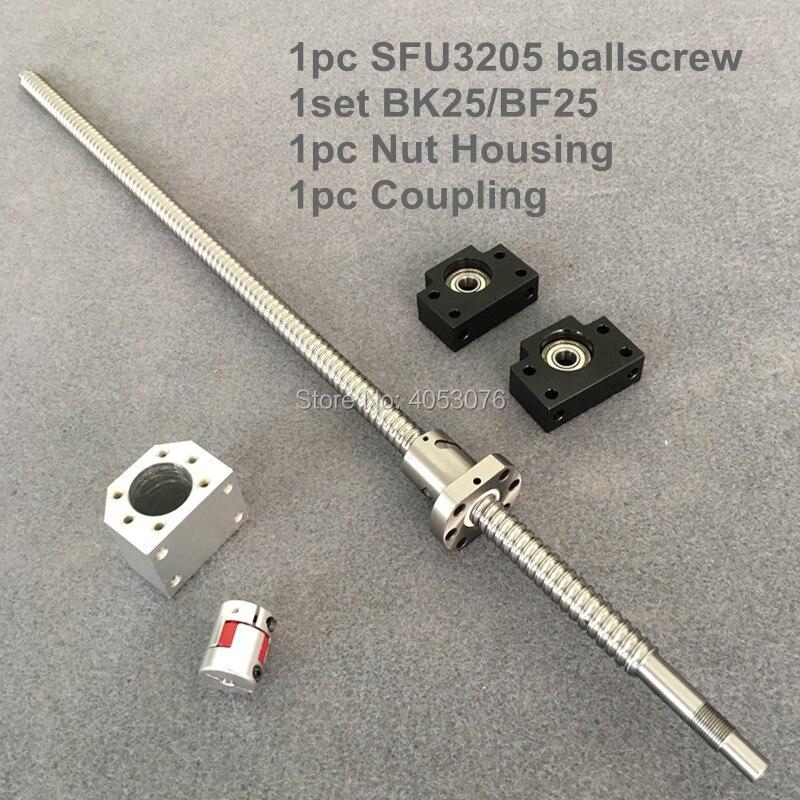 CNC SFU Ballscrew 3205 de 650 de 1000mm con extremo mecanizado + 3205 Ballnut + BK/BF25 final de apoyo + carcasa de tuerca + acoplamiento para CNC